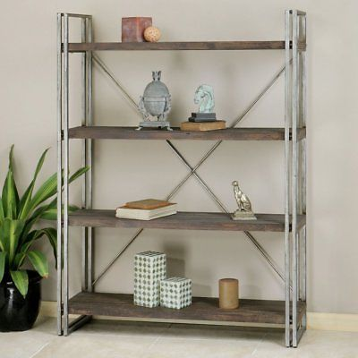 Uttermost Greeley Metal Etagere - Walnut, antiqued silver