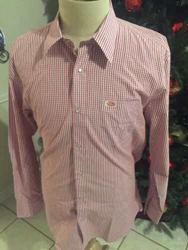 Dr. Pepper Long Sleeve Pearl Snap Shirt Checkered Large L