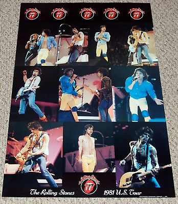 THE ROLLING STONES 1981 US Tour Concert Collage Poster 1982 Printmaster Germanod