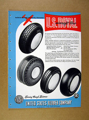 1946 US Rubber Aircraft Tires Tubes Valves Fabrics Rafts Wire Hose 20 page Ad