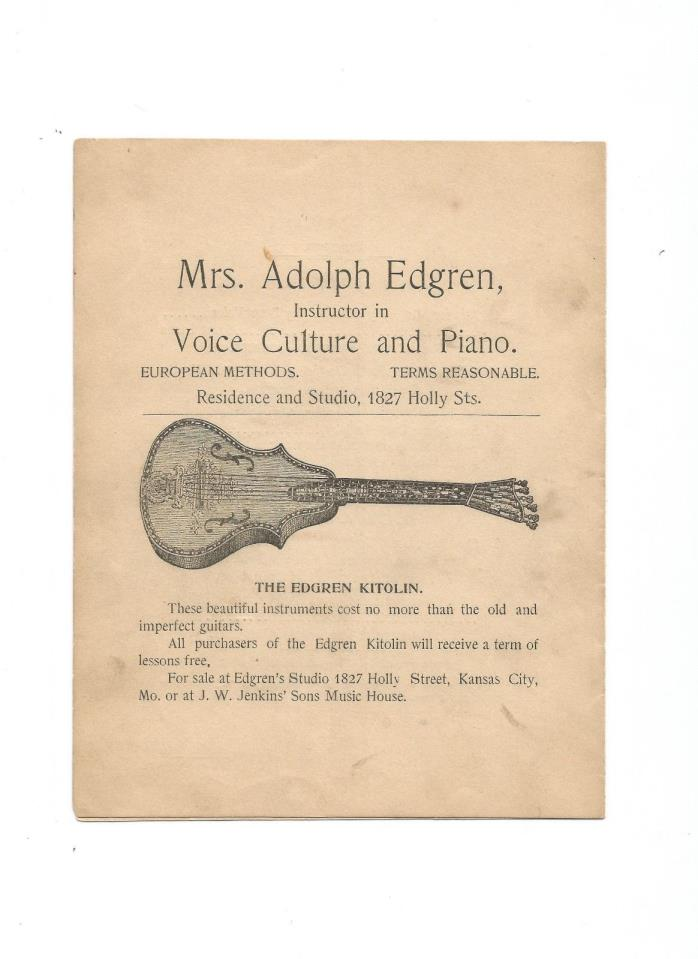 A. Edgren Music Program and Advertisement For