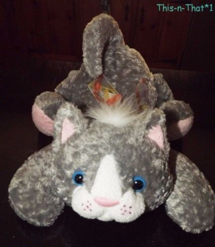 2000 Animal Alley Plus Gray, Pink & White Kitty Cat Plush Toy