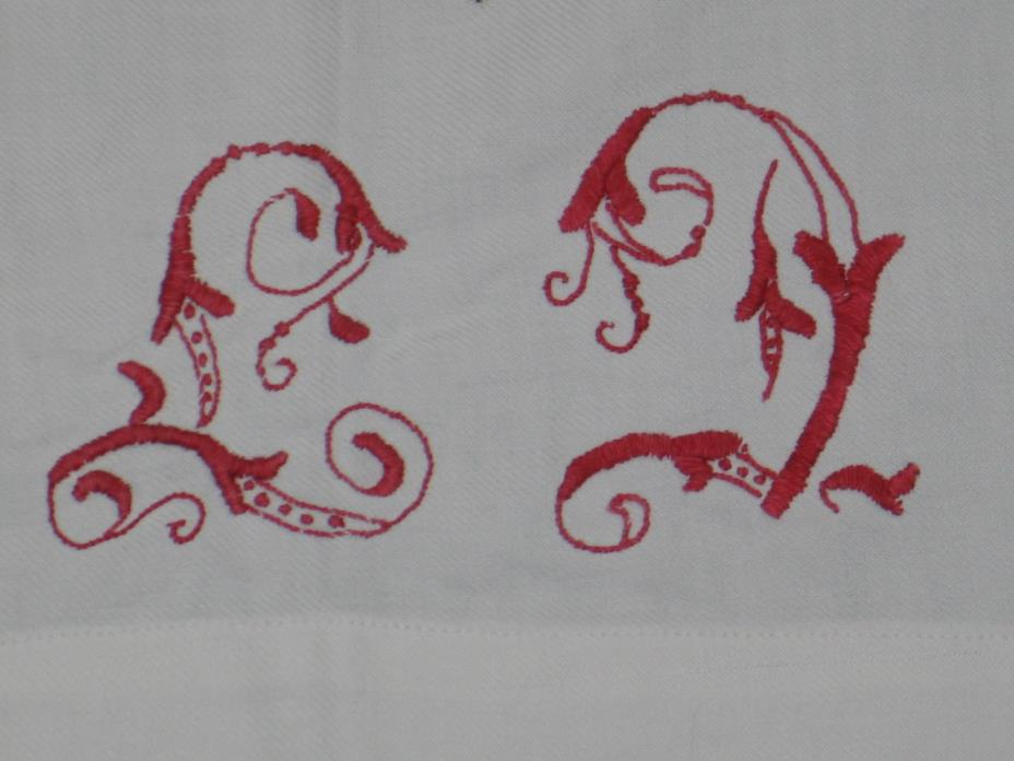Antique German REDWORK Padded Hand Embroidered Monogram Sheet Quilt Coverlet
