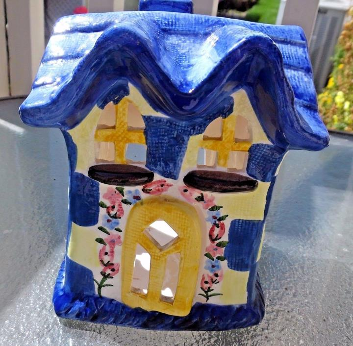 VOTIVE TEALIGHT CANDLE HOLDER BLUE/YELLOW CHECKERED COTTAGE WITH BASE VGC