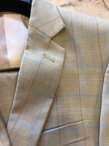 NEW INSERCH MENS 100% WOOL MULTI COLOR PLAID 2BT. SUIT LINED WEDDING SIZE 44L