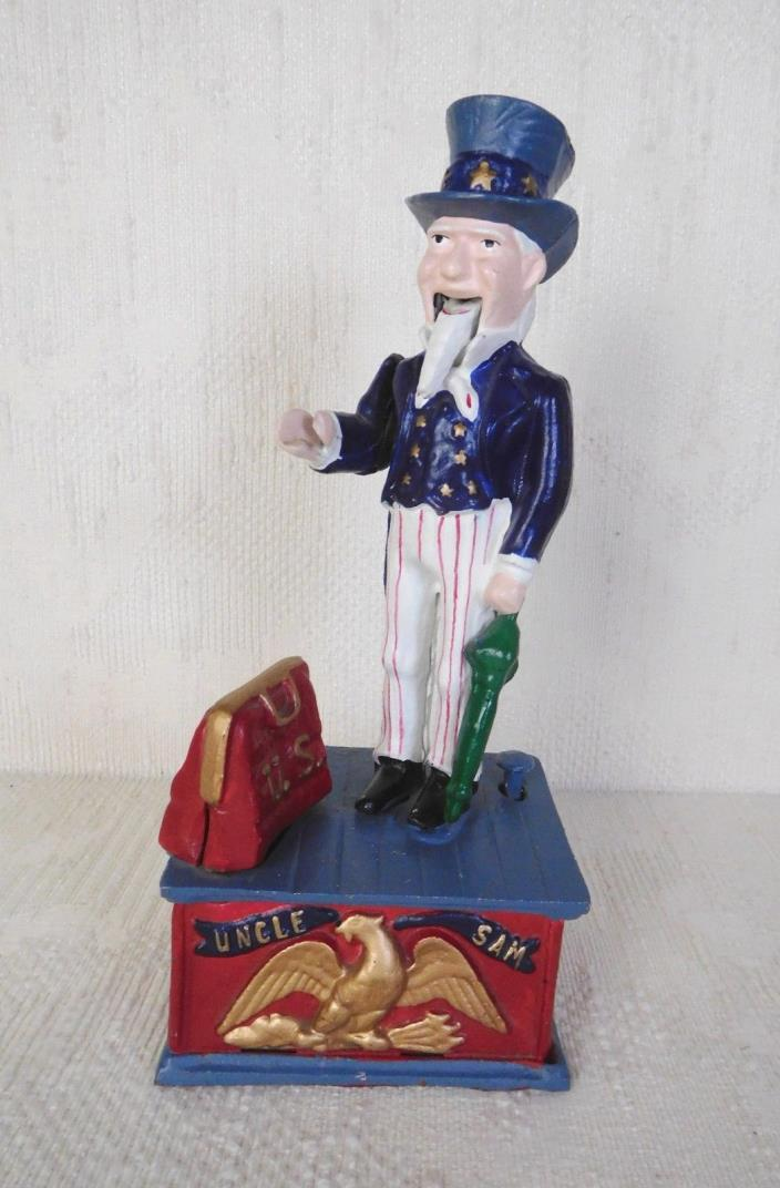 UNCLE SAM COIN MECHANICAL CAST IRON BANK
