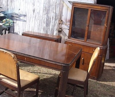 Vintage Kroehler Dining Room Set - China Hutch Sideboard Table & 3 Chairs