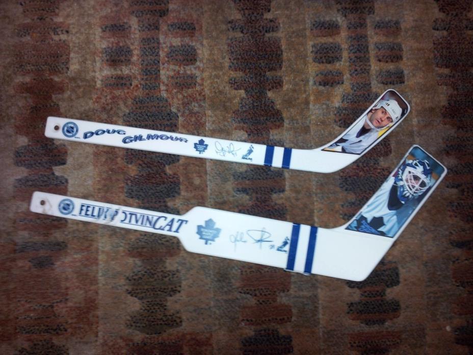 Toronto Maple Leafs NHL In Glas Co. Mini Hockey Sticks VINTAGE Gilmour Potvin