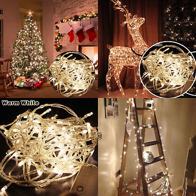 Warm White 20M 200 LED Christmas Xmas Fairy String Holidays Lights Party Wedding