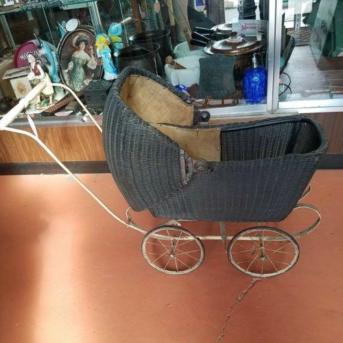 1917 Antique Original Loydd Loom Black Wicker Rattan Baby Doll Buggy Stroller...