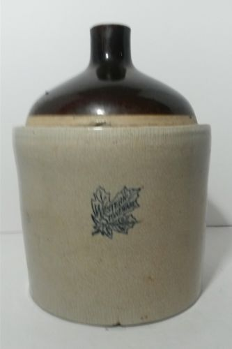 Antique 2 Gallon Western Stoneware Company Maple Leaf Crock Shoulder Jug
