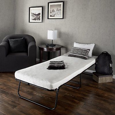 Zinus Traveler Elite Folding Guest Twin Bed Frame with Comfort Foam Mattress NEW