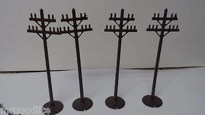 4 Vintage Plasticville Christmas Garden Electric Poles
