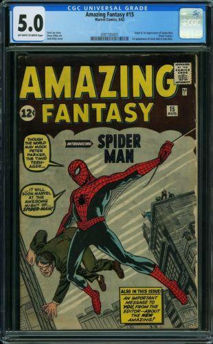 Amazing Fantasy 15  CGC  5.0 / 1st Spider-Man !!! Hot !!! Silver Age Grail !!!