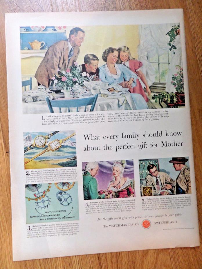 1950 Watchmakers of Switzerland Ad Art of the Swiss 1950 Carter's Underwear Ad