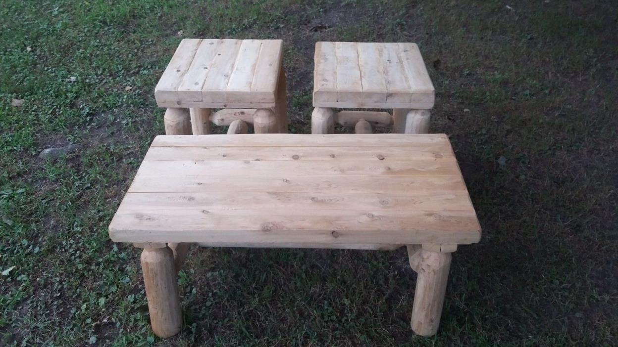Log Cabin Furniture Coffee Table  2 End tables Rustic