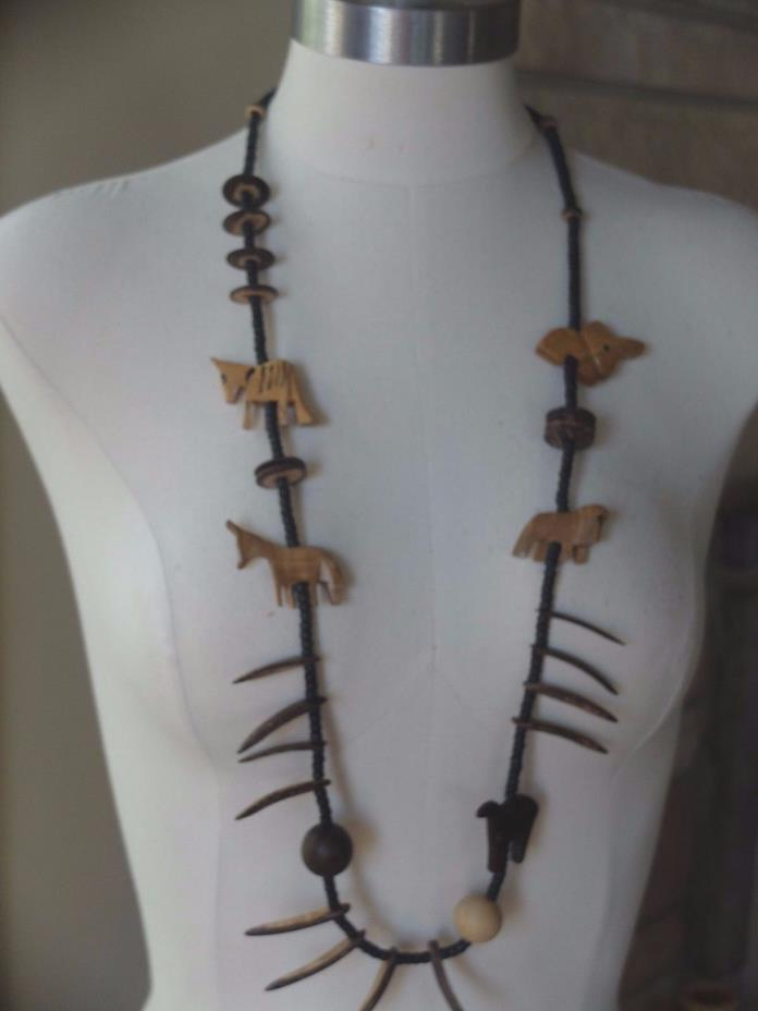 Vintage hand carved wood necklace, African safari animal beads