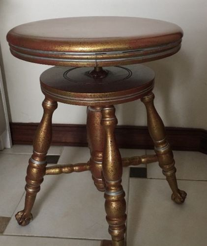 Vnt Parker Co Wooden Swivel Piano Stool Iron Eagle Claw Glass Ball Feet*