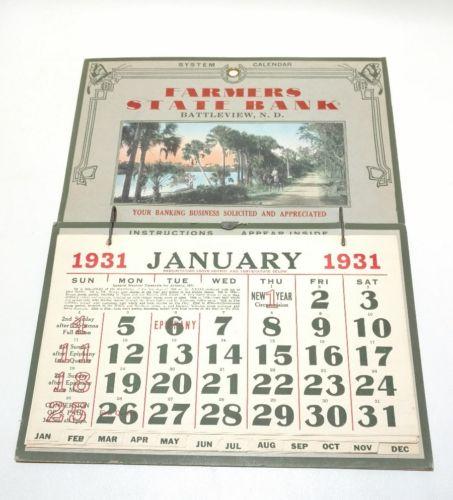 1931 Farmers State Bank Calendar, Battleview North Dakota