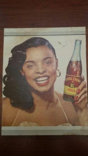 Vintage Royal Crown RC Cola Cardboard Sign Vera Francis Soda Pop Advertising