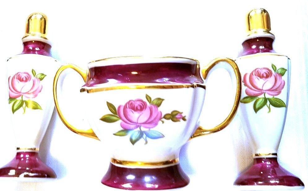 Vintage 22 Kt Gold Trim Off-White Floral Sugar Bowl Salt & Pepper Shakers CG
