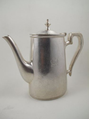 ALEXANDRA HOTEL Hyde Park Corner Silverplate Silver Soldered Teapot Coffee Pot