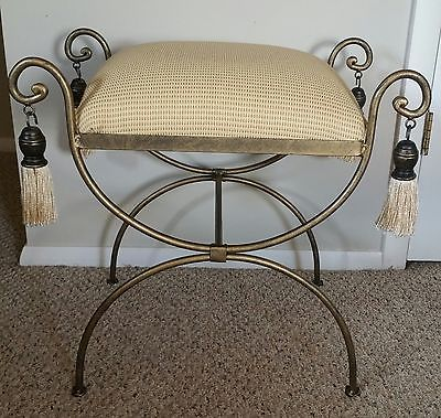 Backless Vanity Stool Metal Base Soft Yellow  Textured Fabric Seat Tassels