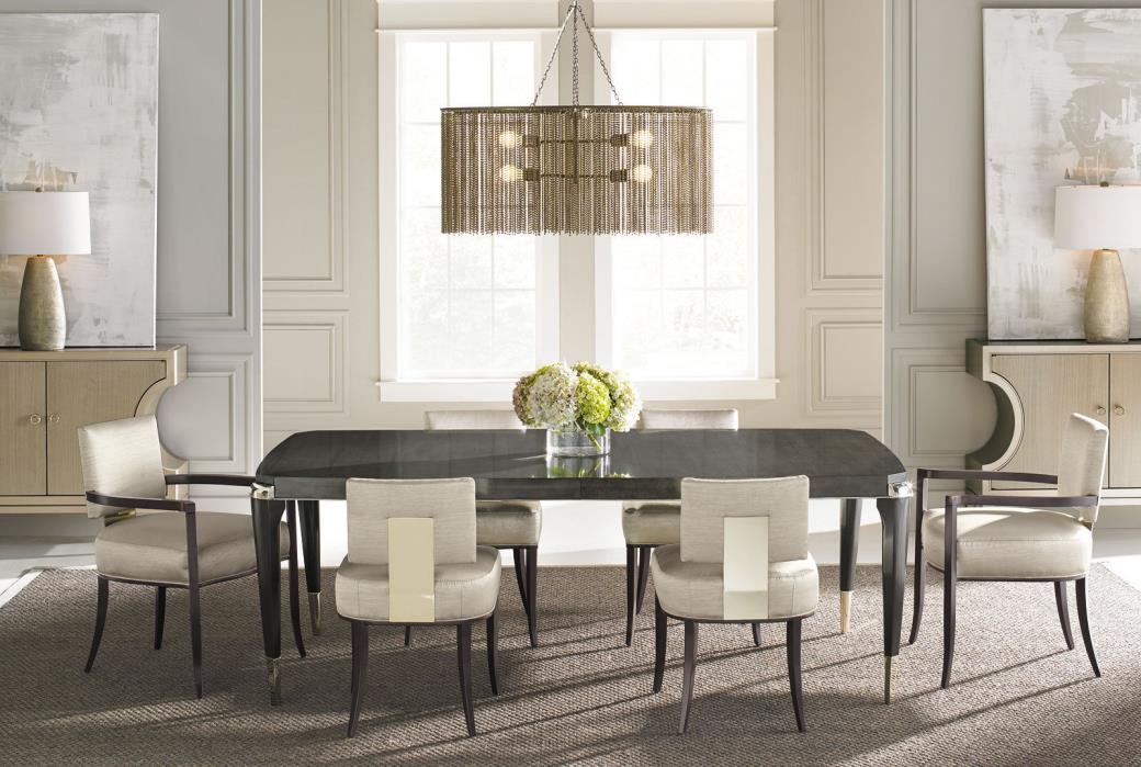 SEVILLA 7 piece NEW Modern Dining Room Brown Rectangular Table Sateen Chairs Set