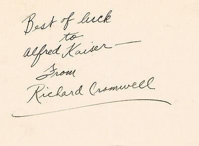 Richard Cromwell signed album page COA UACC