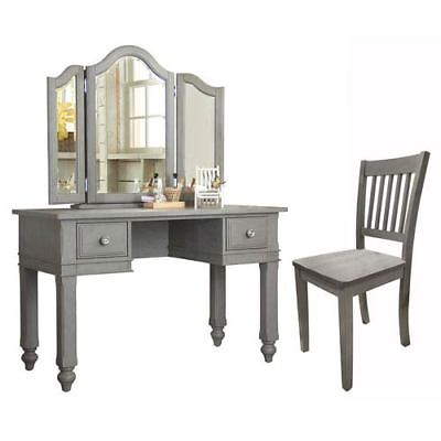 NE Kids Lake House Stone Writing Desk with Vanity Mirror and Chair - 2540NDVC