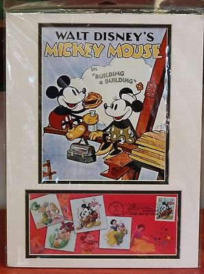 DISNEY MICKEY PICTURE FIRST DAY ISSUE STAMP IN BUILDING A BUILDING SEALED NEW