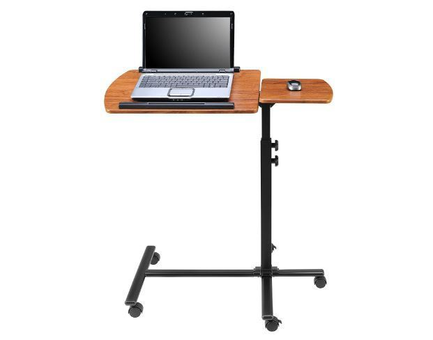 Portable Computer Desks On Wheels Laptop Table Rolling Cart Mobile Stand Home
