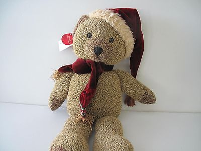 RUSS * Christmas Plush Santa Bear ** SHIMMERS ** Velvet Hat & Scarf * New w/Tags