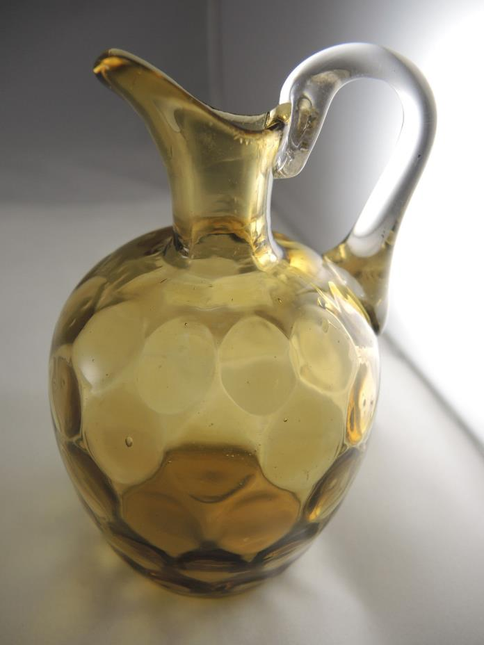 Vintage Amber Amber Blown Glass Pitcher Coin Dot, Thumbprint 5# - Pontil