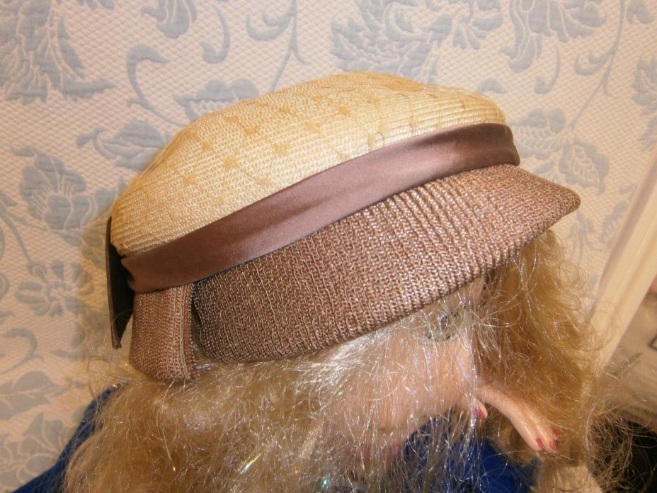 Vintage Pillbox Hat Cream Browns Satin Wide Bow Tight Woven Derby Tea Church