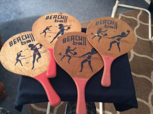 SET OF 4 VINTAGE BEACH BALL VOLLEYBALL WOOD PADDLES