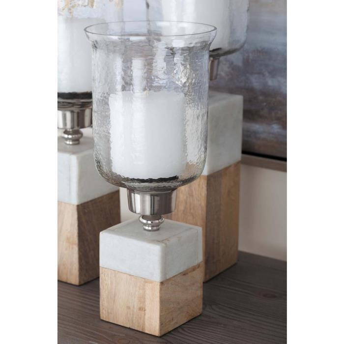 15 in. Wood Marble and Glass Hurricane Candle Holder Home Decoration Brown/Tan