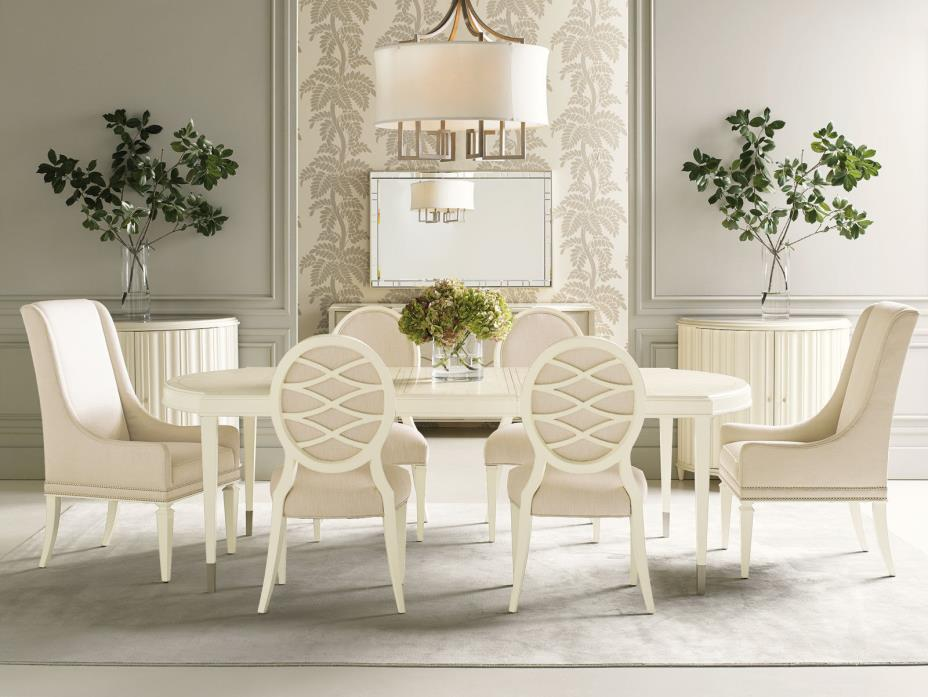 CORBIN 7 piece NEW Modern Dining Room Ivory Rectangular Table & Beige Chairs Set