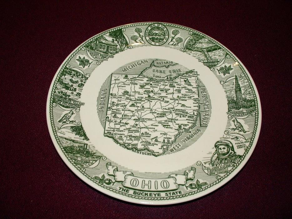 Rare Collector Ohio Ceramic Plate, Kettlespings Kilns, Green and white!  Nice.