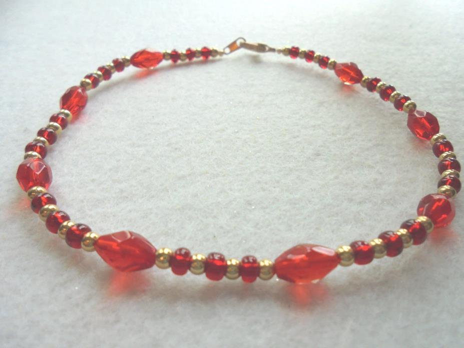 Ankle Bracelet Red Beads Glass Crystals Gold Plated Anklet by J&K Originals