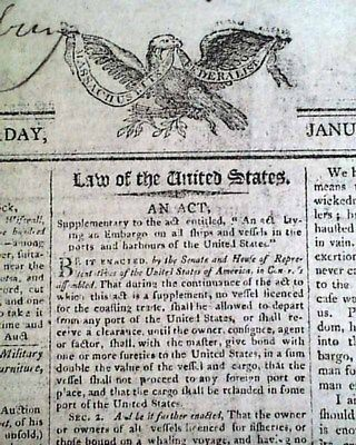 PRESIDENT THOMAS JEFFERSON Act of Congress Signed re. Embargo 1808 Old Newspaper