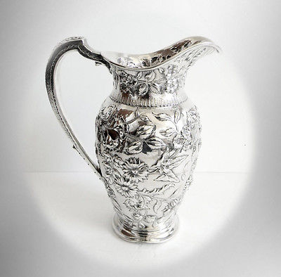 S Kirk and Son sterling silver pitcher or ewer - floral designs - FREE SHIPPING