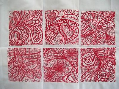 EMBROIDERED QUILT BLOCKS -SET #2 - RED ON WHITE SIMPLY ELEGANT