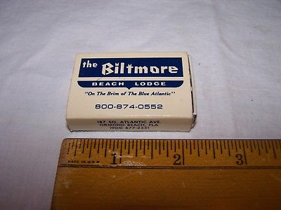 The BILTMORE BEACH LODGE Diamond Wood Matches POCKETBOX Ormond Beach Florida