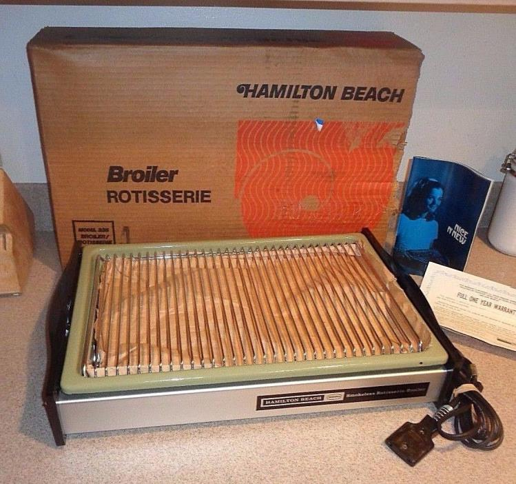NEW Vintage Hamilton Beach Indoor Smokeless Grill Avocado Green