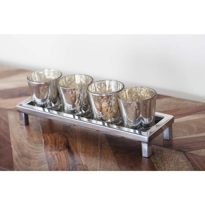 3 in. Silver Rectangular Stainless Steel Glass Votive Candle Holder Home Decor