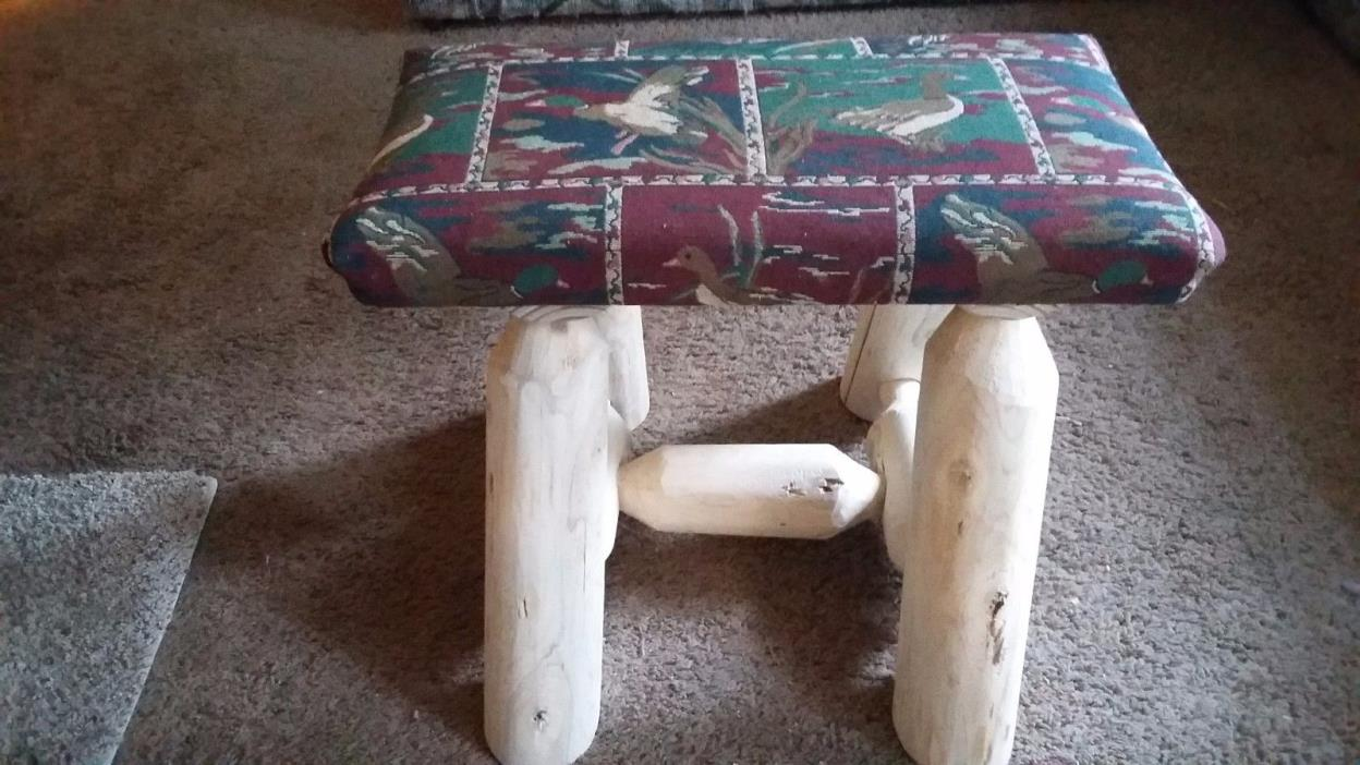 Duck Upholstered FootStool Bench Unique?? Log Cabin Rustic Furniture Handcrafted