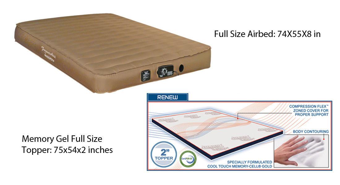 FULL Size Airmattress RV Air Mattress Guest and Memory Gel Natural Foam Topper