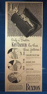 Vintage Magazine Ad Print Design Advertising Buxton Key-tainer Key Holder