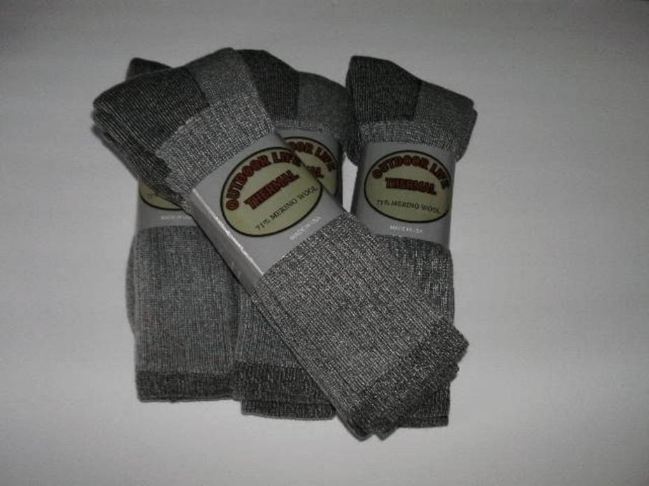 OUTDOOR LIFE THERMAL 71% Merino Wool Socks made in the USA